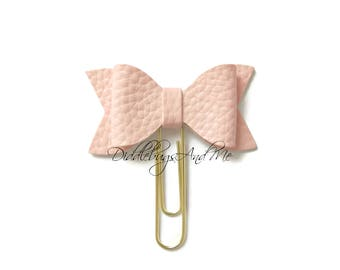 Pink Blush Bow Planner Clips, Leather Bow Paper Clip, Gift For Mother, Accessory For Planner, Pink Leather Bow, Blush Bow Paper Clips
