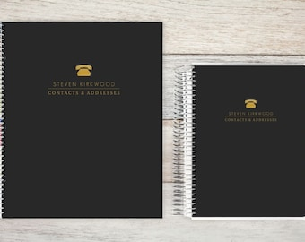 Address Book, Personalized Address Book, Graduation Gift, Telephone and Address book, Custom Address Book - mini golden telephone