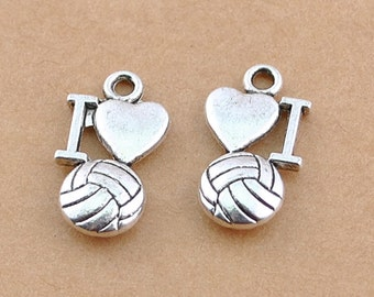 Volleyball Charm 10 I Love Volleyball Charms Tibetan Silver Antique Silver Tone 16 x 9 mm - ts418