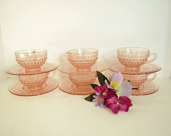 Pink Glass Hobnail Tea Cups with Saucers from Anchor Hocking