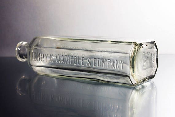 Antique Bottle, Henry K Wampole & Company, Clear, Circa 1920s, Medicine Bottle, Cure, Embossed, Collectible