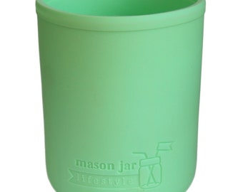 Sleeve for Wide Mouth Pint Mason Jars / Silicone / Insulated / Mason Jar Holder