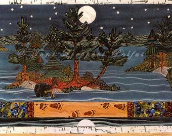 Night Fishing Black Bear Painting, reporduction of original watercolor, folk art, moon art, bear art, cabin decor, northwoods landscape