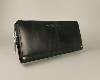 Leather wallet, zipper wallet,  Womens Wallet,  iphone wallet, leather card wallet, Leather Purse,  long leather wallet, black wallet