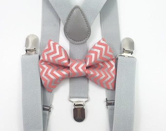 FREE DOMESTIC SHIPPING! Light gray Suspenders and matching coral and silver chevron Bow Tie family photoshoot photoprop pictures wedding