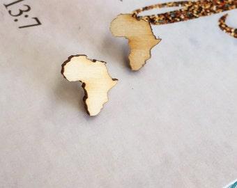 Africa Earrings / South Africa Earrings / Wooden Earrings / Laser Cut Earrings / Stocking Filler / Unique Gift / Laser Cut
