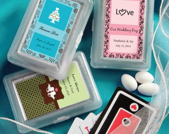40 Playing Cards with Personalized Case Favors - Set of 40