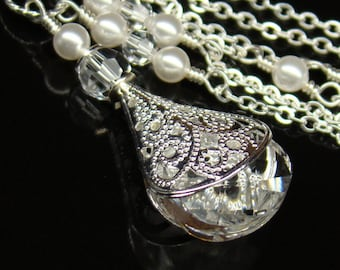 Crystal Necklace,Choose Color,Clear Swarovski Crystal White Pearls Necklace Sterling, Silver Filigree Wedding Jewelry, Bridesmaids Necklace