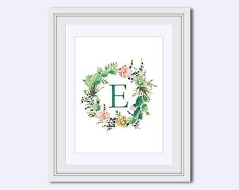 Monogram E - cactus monogram - cactus wreath print - Monogram printable - Wedding printable - diy printable - Monogram Wall Art - art print
