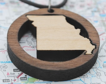 Wooden Missouri Necklace State Pride Jewelry Local Neighborhood Area Code Jewelry Hometown Home State Long Distance College Going Away Gift