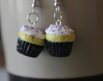 Sparkly Black Cupcake Earrings