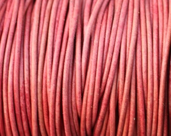 2mm Pink Natural Dye Leather Cord - Round - 2 Yard Increments