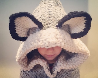 Knit Hooded Wolf Cowl