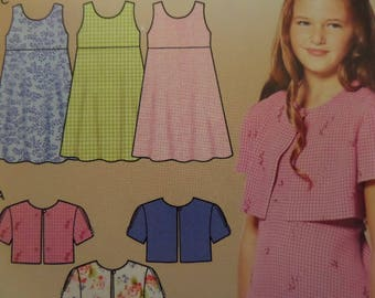 EMPIRE DRESS Pattern • Simplicity 5650 • Girls 7-14 • Tie Back Dress • Crop Jacket • Sewing Patterns • Childrens Patterns • WhiletheCatNaps