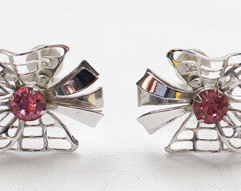 SBE # 7 Signed B.N. Vintage Silver Tone Screw Back Earrings with Pink Crystal Rhinestone and Leaf, Ribbon, and Bow Detailing
