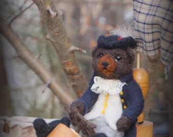Needle Felted Captain Bear Sailing in a Shoe Needlefelted Wool Animal Soft Sculpture by McBride House