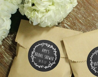 24 Favor Bags with Laurel Chalkboard Labels | Wedding Favors | Bridal Shower Favors | Kraft Favor Bags | Chalkboard Favors - ANY OCCASION
