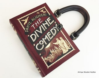 Dante Book Purse - Purgatory Book Clutch - Divine Comedy Book Cover Handbag - Classical Education Literary Gift - Shoulder Length Bag