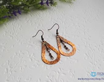 hammered copper earrings, orange dangle earrings