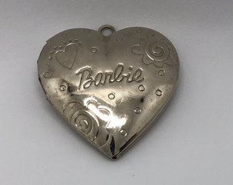 70s Barbie Heart Picture Locket in Silver, Vintage Mattel