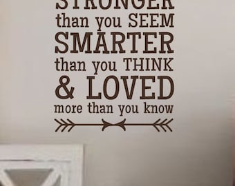 Always remember you are BRAVER STRONGER SMARTER -Vinyl Wall Decal- Winnie the Pooh-Wall Quotes- Lettering for the Walls