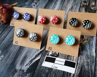 Wooden stud earrings-hypoallergenic Holzohr plug without metal, hand painted (colour: 72-76)-Resin/resin