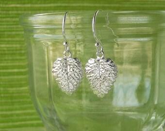 Small Lemon Balm Leaf Earrings - Silver Dangle Leaf Earrings, Pure Silver Real Leaf, Herb Jewelry, Gardeners Gift