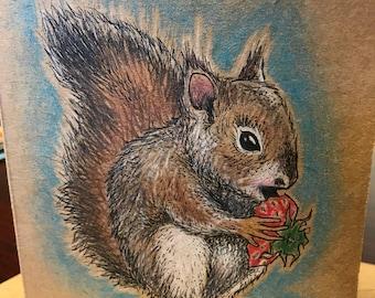 Squirrel - Hand Drawn Greeting Card