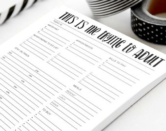 Every Day To Do List | Note Pad | Check List, Schedule and Shopping list | INSTANT DOWNLOAD