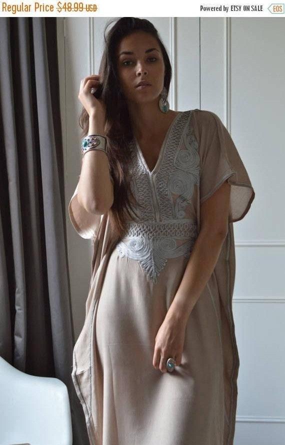 Kaftan Sale 20% Off/ Beige Caftan Resortwear with Grey Embroidery -loungewear,resortwear, great for  Birthdays, Honeymoon gifts