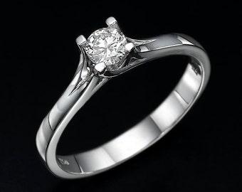 twist ring, unique engagement ring, diamond engagement ring, twist prong ring, white gold ring, round diamond ring, classic design ring