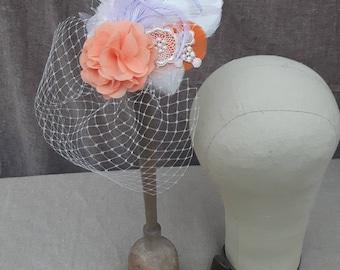 Schleier Headpiece apricot flieder lavendel Spitze Braut Brautschmuck Fascinator pastell Federn Haarschmuck  Vintage Hochzeit Kopfschmuck