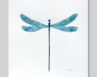 Dragonfly art print, teal watercolor dragonfly wall decor illustration by VApinx