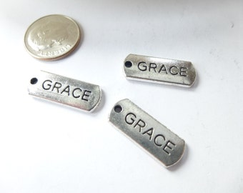 3 Grace Tag Charms Pendants 8 x 21mm