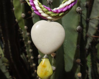 Kumihimo necklace white heart