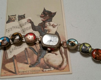 Purrfect KITTY BUTTON WATCH  Whimical Fun Funky Colorful Working watch