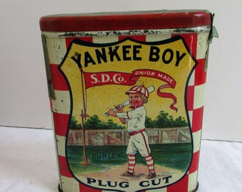 Antique Yankee Boy Plug Cut, Scotten, Dillon Co. Detroit Tobacco Tin