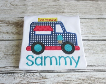 Cute Gingham Ice Cream Truck Appliqued Shirt - Boys, Girls, Embroidered Shirt, Ice Cream, Truck, Toddlers, Baby, Children's Clothing