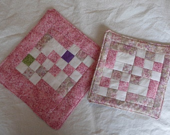 Pink Quilted Pot Holders (2)