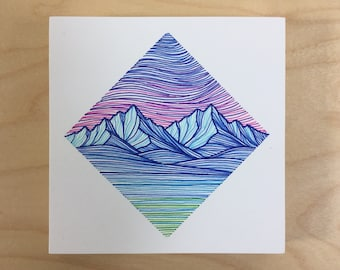 Small Mountain Block in Pink, Blue, and Green - Original Pen Drawing on Wood - Colorful Mountain Art