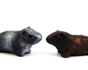 Agouti Guinea Pig, Choose ONE: Silver or Chocolate Agouti Color, Miniature Figurine, Hand-Sculpted Fairy Garden or Doll House, Polymer Clay