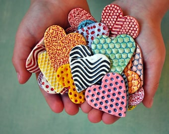 Colorful Hearts- Ceramic Heart Magnets- Valentine Magnets