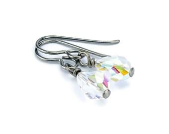 Niobium Earrings Crystal Aurora Borealis Hypo Allergenic Titanium Earrings, Swarovski Crystal Teardrop No Nickel Earrings for Sensitive Ears