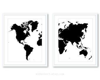 World Map Prints - Map Wall Art - Map Decor - Map Print - Map Art Work - Set of 2 prints - Custom Color - 5x7 or 8x10 - frames not included