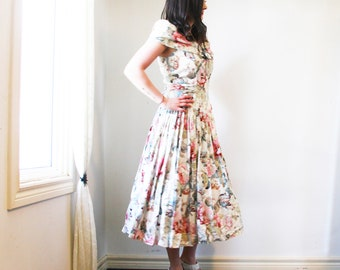 vintage Algo-Ettes dress S -  M floral tea dress