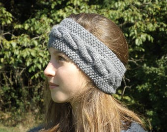 Grey wool headband twist