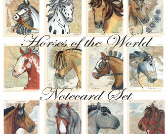 Horses Of The World - Set of 12 Notecards with Envelopes