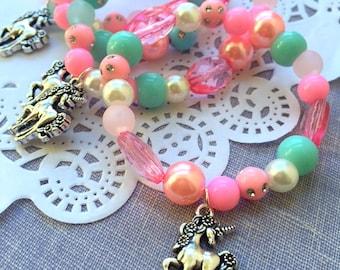 Unicorn kids birthday party favor, unicorn jewelry, kids jewelry, SET of TEN.