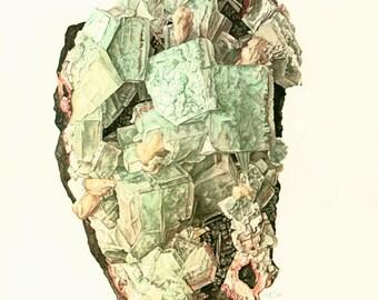 1970 Apophyllite on Basalt Rock Matrix, Mint Green Blocky Crystals, Gemstone, Collector Mineral Specimen, Brazil