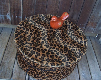 BIG Hat Box Faux Fur Animal Print Black and Brown Hat Box Large Hat Box Leopard Spotted Furry Feel